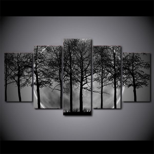 5 Pcs / Ensemble Encadré HD Imprimé Noir Et Blanc Arbre Forêt Toile Art Peinture Affiche Image Pour La Maison Décoratif Mur Photo