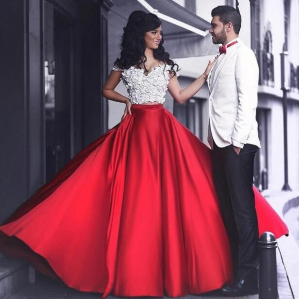 Fabulous Red Charming Prom Dresses Off Shoulder Appliques Sexy Two Piece Evening Dresses 2017 Glamorous Chapel Train Party Dress