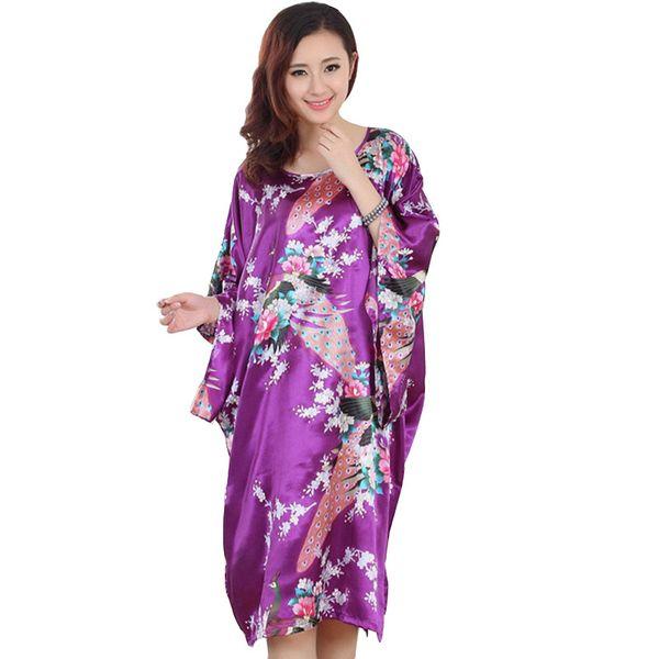 Großhandel-2017 Frühling Sommer Künstliche Seide Kimono Satin Robe Frauen Lounge Chinesische Sexy Bademantel Peignoir Floral Roben Weiblichen Druck Kleid