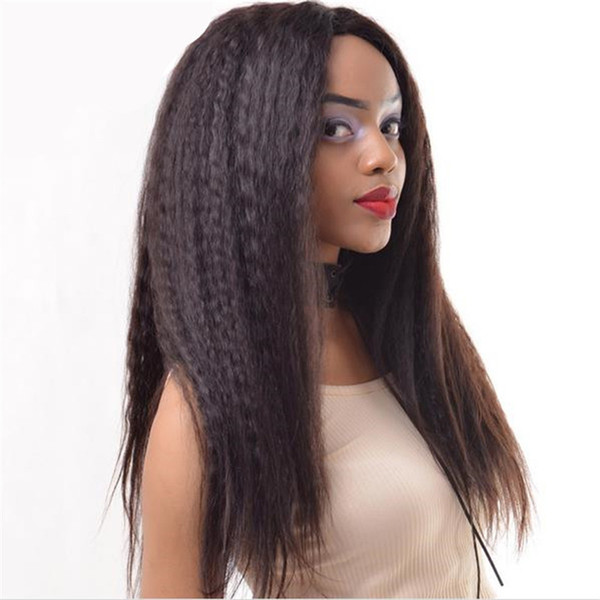 Celebrity lace front wig 1b kinky straight human hair virgin mongolian human hair wigs free shipping