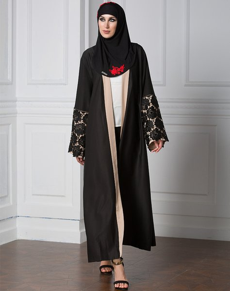 Großhandel Elegante Modische Abaya Islamische Die Lange Muslimische Open Dubai Frauen Trenchcoat In Voller Spitze Der Mantel Türkei Kleidung Länge 76yfbg