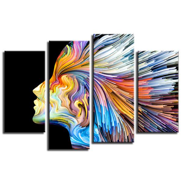 Abstract Painting Girl Photo Prints 4 pieces Giclee Prints for Living Room Office Unframed(30cmx60cmx2 30cmx80cmx2)