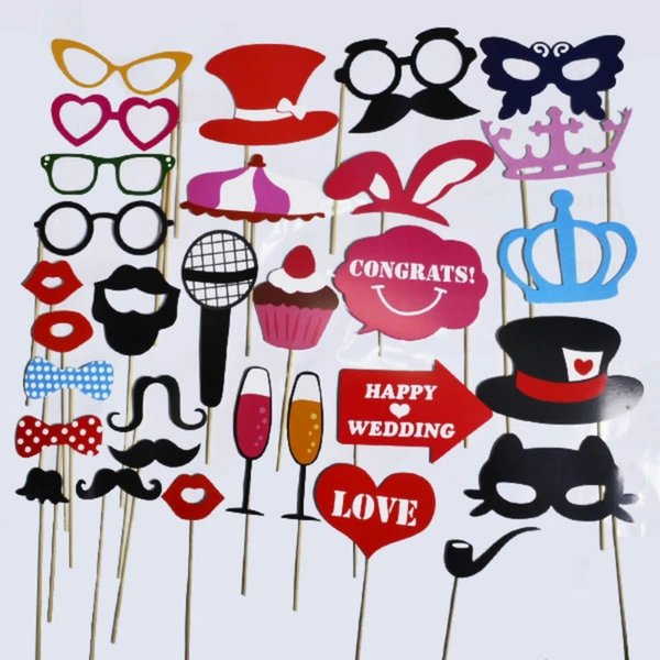 Wholesale- 1Set 31pcs Photo Booth Props Glasses Mustache Lip Hat On A Stick Wedding Party Favor Fun Color Mask Birthday Decor