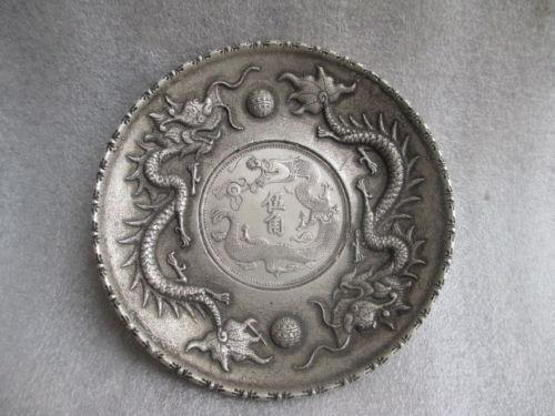 8.9 cm */ China Tibet silver COINS plate play pearl dragon statue