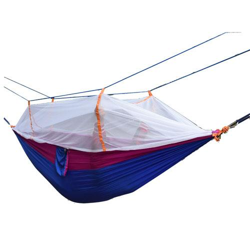 Wholesale- 260*140cm Double hammock with mosquito net Outdoor camping survival garden hunting Leisure Parachute cloth swing hammock