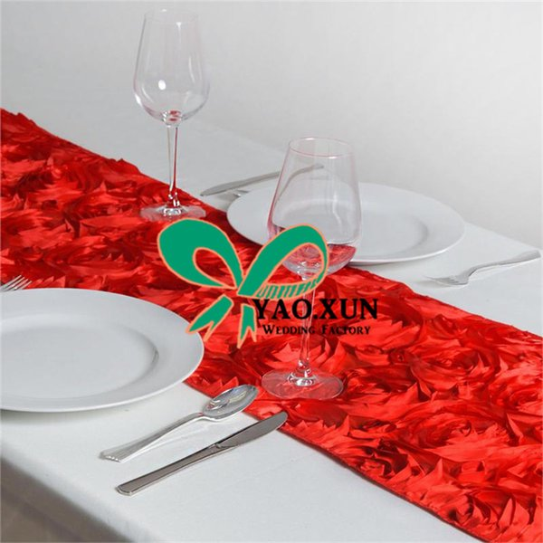 Wholesale Price 3D Satin Rosette Table Runner For Wedding Baquet Decoration Free Shipping