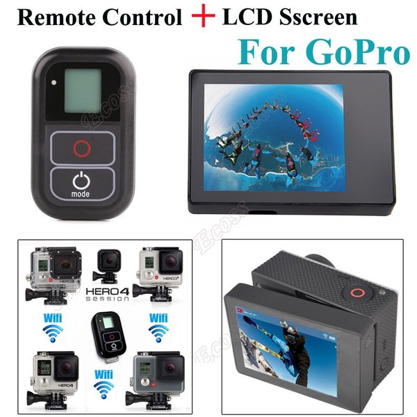 Freeshipping 2 IN 1 4 Remote Accessories Smart WIFI Remote Control+LCD BacPac Display Screen For GoPro Hero 4 Hero 3+ 3 Camera