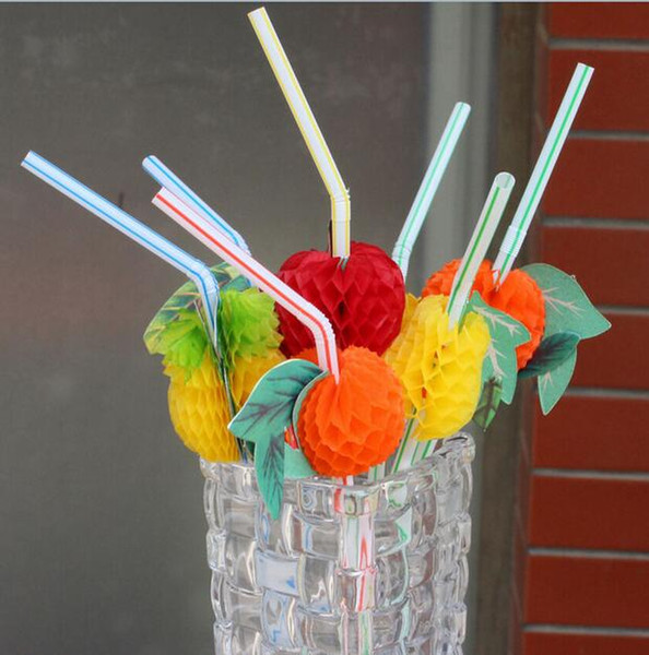 3D Fruit Cocktail Paper Straws Umbrella Drinking Straws Party Decoration Color Assorted G773