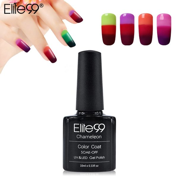 Wholesale-Elite99 3-in-1 Thermal Color Changing Nail Gel Polish Soak Off UV LED Base Top Professional Beauty Choices Gel Nail Pick 1 Color