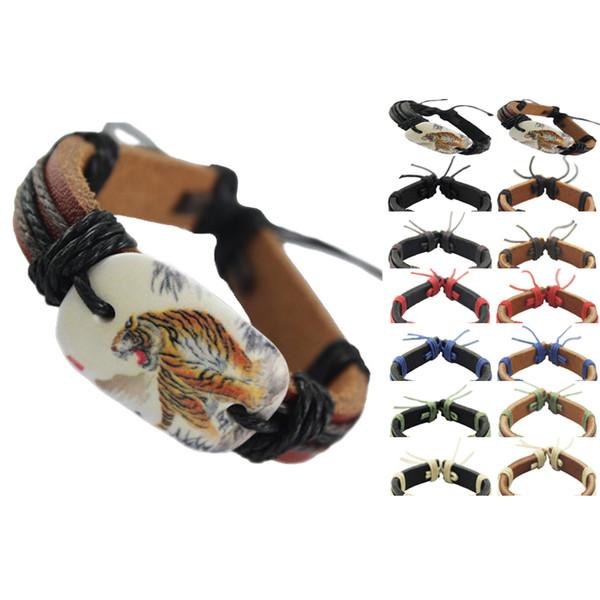 Tigre pulseira de couro genuíno ajustável marrom preto lotes por atacado cadeia de moda jóias homens mulheres pulseira artesanal pulseira nova (DJ112)
