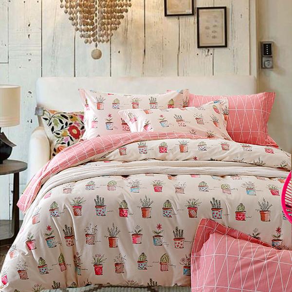 Riho 4-Piece 100% Cotton Bedding Rural Floral Rose Elegant Comfortable Bedding Sets Bedding Sheets Bed Comforter (Pink)