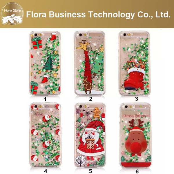 New Hot Cute Phone Case Quickstand Bling Bling Liquid Santa Christmas Phone Cover for iPhone 7 7plus X XS MAX