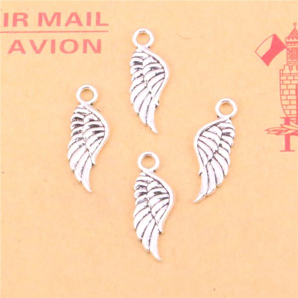 200pcs Tibetan Silver Plated angel wings Charms Pendants for Jewelry Making DIY Handmade Craft 21*8mm