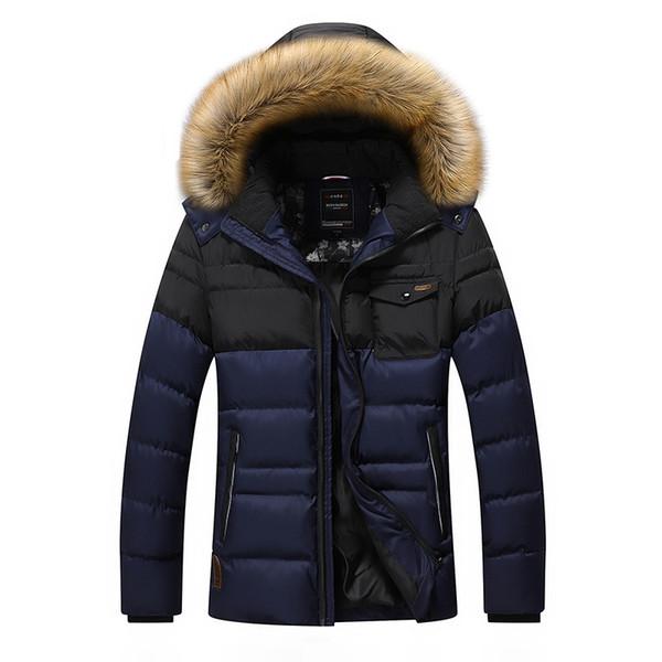 Vente en gros-Épaississement Hiver Veste Hommes Marque-Vêtements Casual Survêtement Parka Manteaux Warm Down Veste Col De Fourrure Zipper Vêtement DJ07402