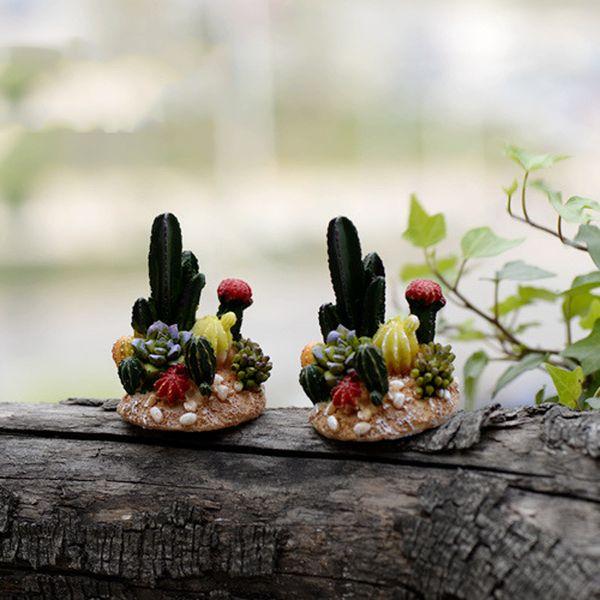 2pcs Cactus plant pot fairy garden decor miniatures bonsai ornament home jardim Micro Landscape decorating resin flower crafts