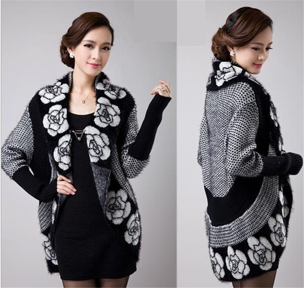 Long Knitted Hood Cardigans Sweater Jacquard Wave Shawl Jacket Mohair Fur Coat Knitted Winter Knitted Cardigan Sweater