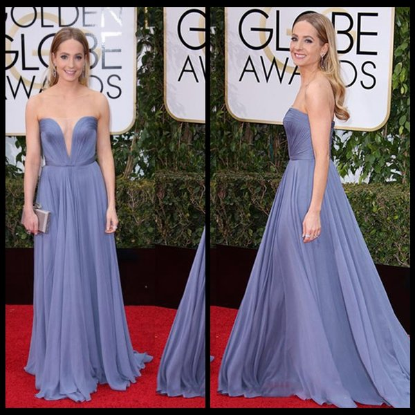 2017 Joanne Froggatt Red Carpet Celebrity Dresses With Illusion Neck Sweep Train Chiffon Ruffles Cheap Prom Dresses Evening Gowns