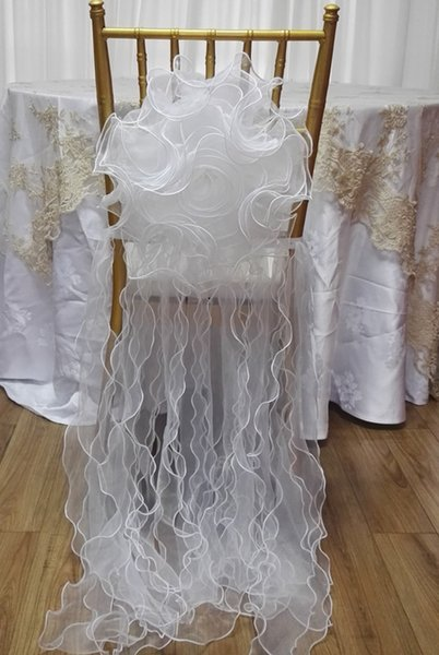 White Flower Tulle Chair Covers Dresses Chair Sashes Ties Party Banquet Chair Decorations Outdoor Wedding Accessories