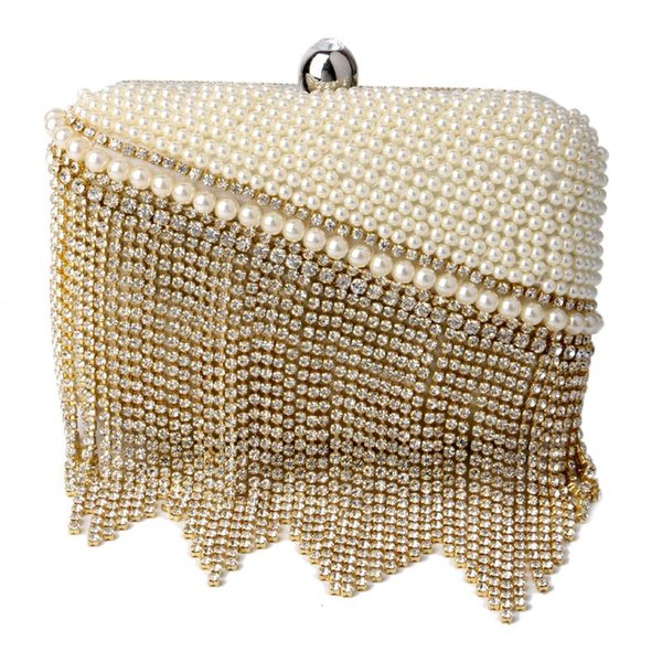 Wholesale-HOT Rhinestones tassel women evening bags silver/gold day clutches handbags ring metal evening bags