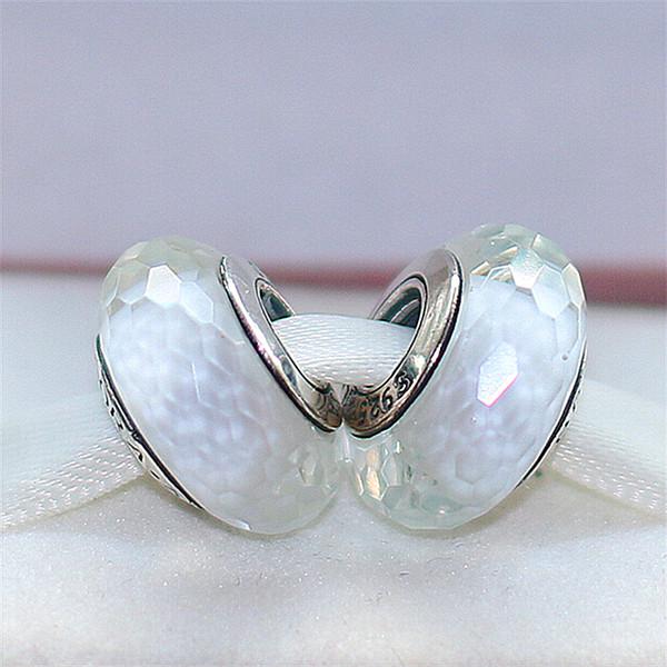 2pcs 925 fil d'argent blanc au chalumeau blanc fascinant perles de verre de Murano Fit européen Pandora bricolage Bracelet collier-m14