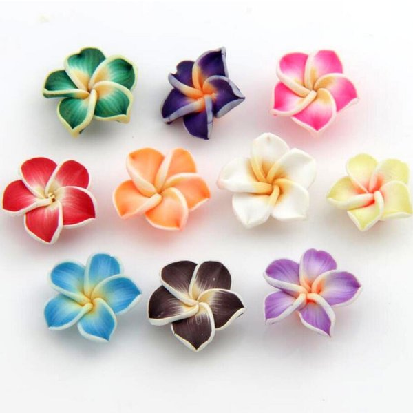top popular Colorful Polymer Clay Plumeria Flower Beads 15mm 150pcs lot Beads Loose Beads Hot sell Jewelry diy L3000 2020