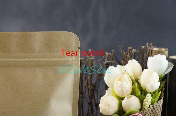 Free shipping 9x14cm 100pcs/lot X Brown Standing Kraft paper ziplock bags with matte Clear window-reusable flower tea bag storage sachet