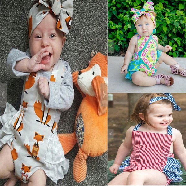 2017 INS Summer Baby fox Romper Harness cartoon Flowers stripe Jumpsuits kids climbing clothing with headband 4 styles C1817