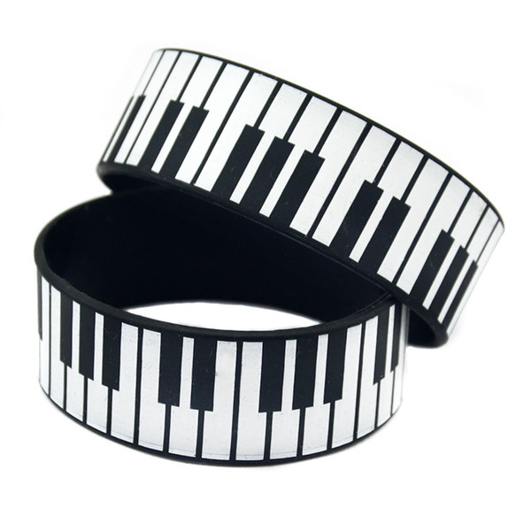 50PCS/Lot 1 Inch Wide Printed Bracelet Big Piano Keys Silicone Rubber Wristband For Music Fans