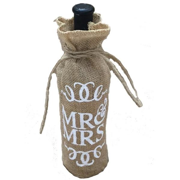 Wholesale- Mr.& Mrs Jute Burlap Wine Bottle Cover Gift Bag Wedding Christmas Party Decoration AA8008