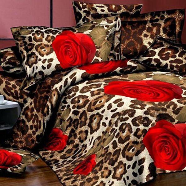 Atacado-4 peças 3D Floral Capa de Edredão de cama de casal Roupa de cama Lençol Set Rosa Vermelha Conjuntos de cama Flor Colchas King Size