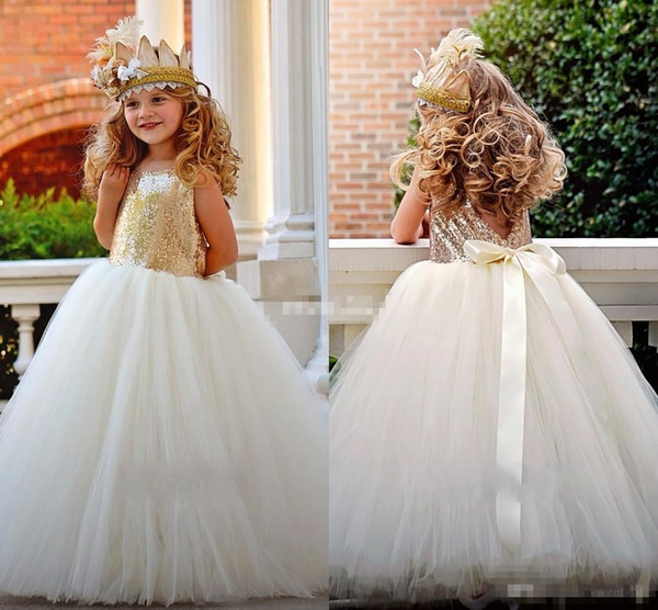 Lovely Gold Sequined Flower Girl Dresses Ball Gown Tutu Sash Crew Neck 2017 Baby Child Birthday Party Formal Gowns Girls Pageant Dress Cheap