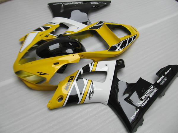 Aftermarket body parts fairing kit for Yamaha YZF R1 2000 2001 yellow white black fairings set YZFR1 00 01 OT35