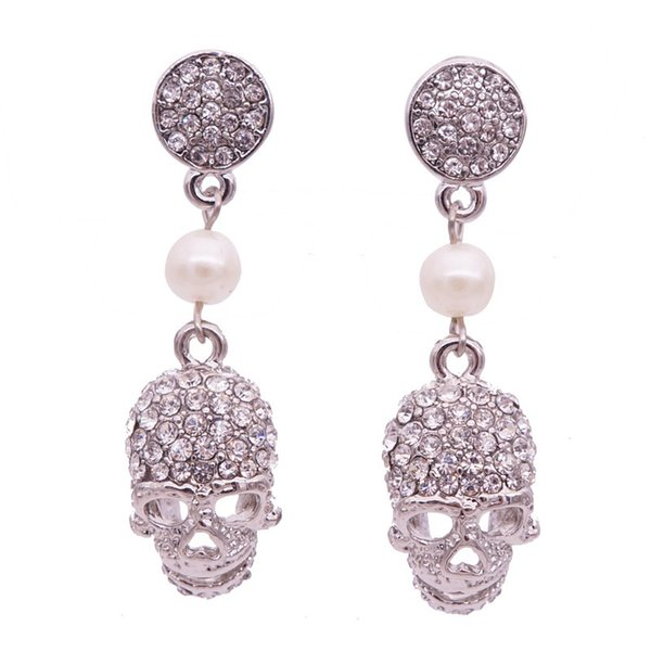 2017 new punk crown skull Dangle earrings for women Jewelry Fashion club Halloween delicate gem crystal skeleton drop earrings Free shipping