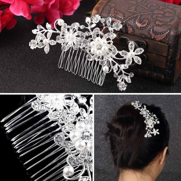 top popular Bridal Wedding Flower Crystal Rhinestones Pearls Women Hair Clip Comb,Hair Pin Accessories Jewelry 2019