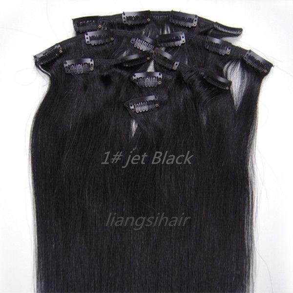 "Grade 7A Straight Brazilian Human Hair Extensions Clip in Hair bundles 1# Jet Black 15"" 18"" 20"" 22"" 70g"