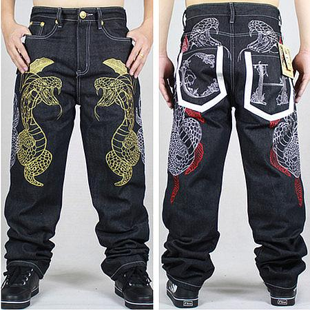 Wholesale-2015 New Fashion Mens Wide Leg Jeans Embroidered Gold Python Loose Pants Skating Hip-hop Street Rap Dance Trousers Hot Sale