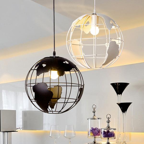 Acheter De Originalité Manger Globe Lampe Décoration Unique Créative Moderne Carte Pour Pendante Mariage Salle La À Noir Tête Blanc XZiTPuOk