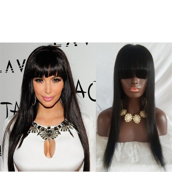 Glueless Full Lace Wigs Straight Hair With Bangs Full Lace Human Hair Wigs For Black Women Natural Color 8-30 Inch