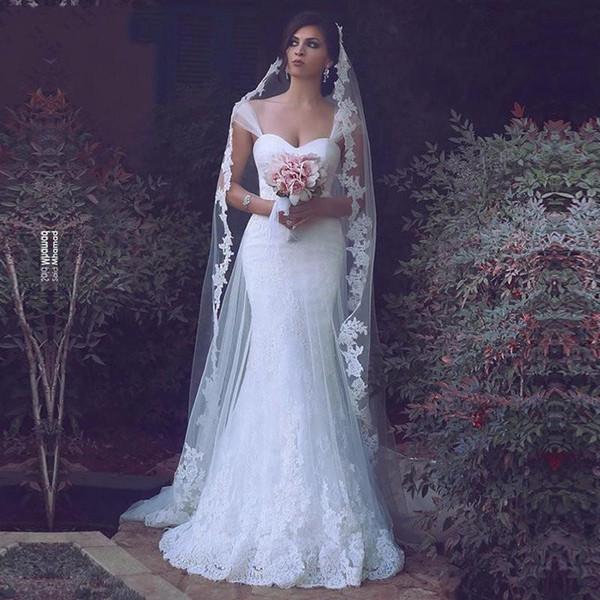 Lace branco Sereia Vestidos de Casamento 2017 Sheer Tulle Cap Manga Applique Espartilho Equipado Vestidos de Casamento Elegante Vestido de Noiva Custom Made