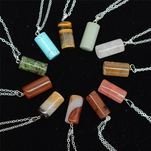 Cylinder Natural Stone Chain Necklaces