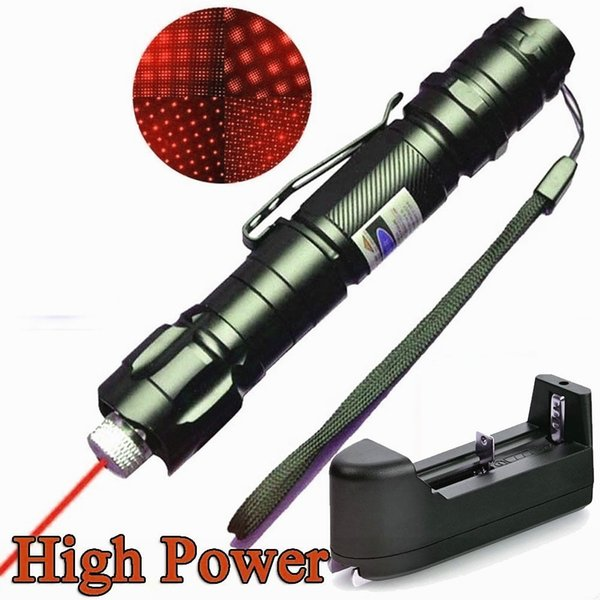 10Mile Red Laser Pointer Pen Star Cap Belt Clip Astronomy 650nm Rechargeable Amazing Lazer Cat/Dog Toy+18650 Battery+Charger
