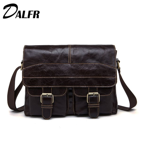 Wholesale- DALFR Genuine Leather Crossbody Bag Casual Messenger Bags Cowhide Shoulder Bags for Men 14 Inch Briefcase for Men