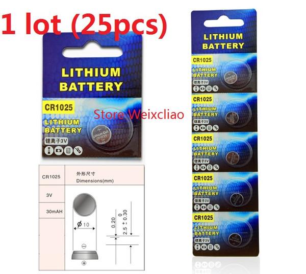 25pcs 1 lot CR1025 3V Lithium li ion button cell battery CR 1025 3 Volt li-ion coin batteries free shipping