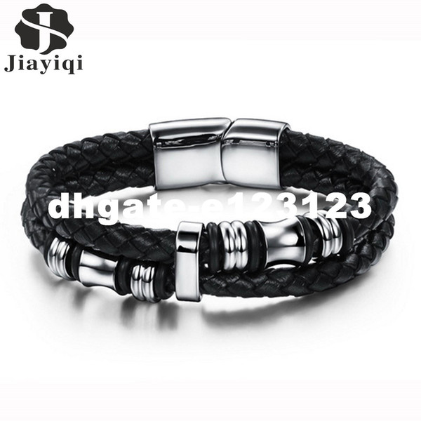 dhgate Fashion Stainless Steel Bracelet Men Braid Black Leather Bracelets & Bangles Rope Chain Vintage Jewelry Magnetic Buckle
