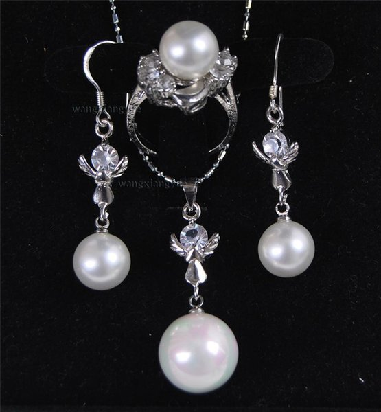 South Sea White Shell Pearl Ring Earrings(10mm) Pendant(16mm)Necklace Set