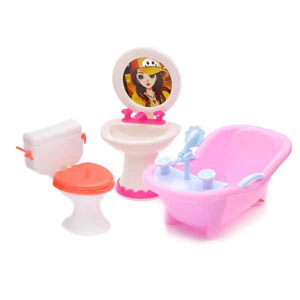 Móveis de boneca Brinquedo Higiênico Banheira Banho de Banho Tigela Toalhinha Pode Flip Lavatório Acessórios de Boneca Pia Do Banheiro Da Boneca Para Crianças Brinquedo