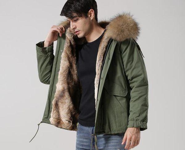 2018 marrón con capucha de piel de mapache Meifeng Marca hombres piel abrigos de nieve albaricoque Vertical forro de piel de conejo ejército lienzo verde mini parkas