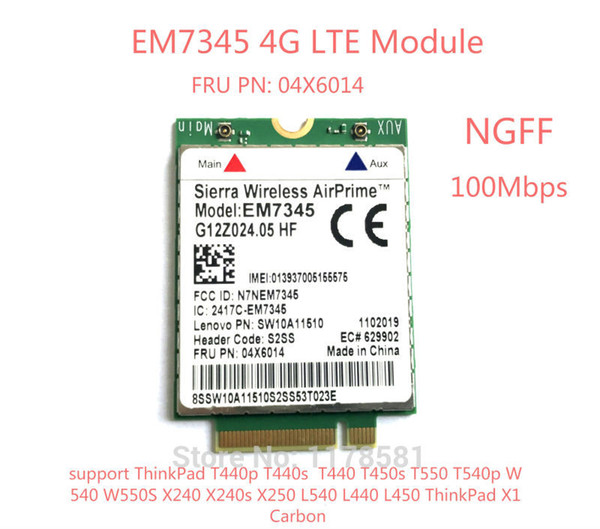 best selling Freeshiping For IBM Lenovo Thinkpad T440 T540P W540 L440 X240 X1 Carbon 4G Module EM7345 NGFF M.2 WWAN Card 04X6014 4G LTE HSPA+ 42Mbps Card