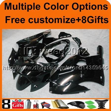 8Gifts+Tank cover glossy black ABS cowling ZX12R 2000 2001 motorcycle Fairing Set for Kawasaki Ninja