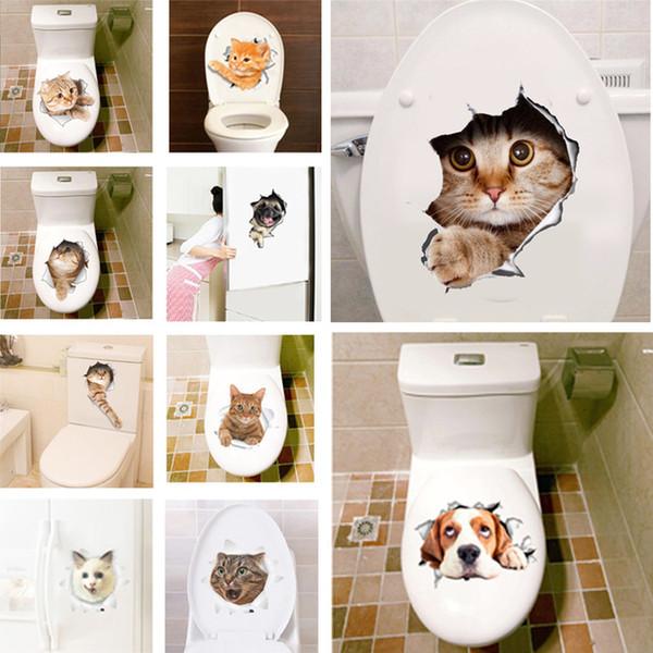 3D стикер стены ванная комната туалет гостиная кухня украшения виниловые искусства стикер плакат клей кошки собака декоративные наклейки